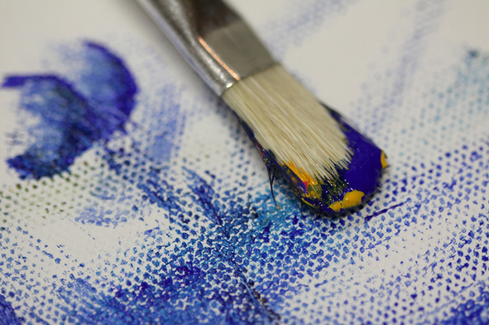 blue paint with brush